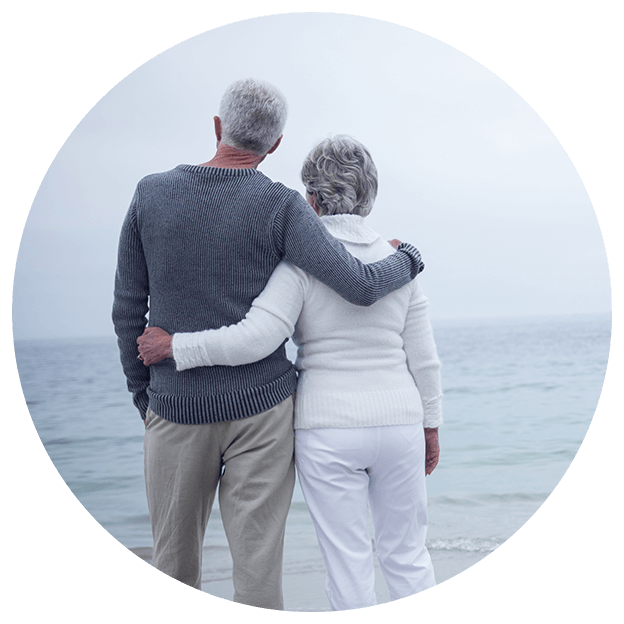 older couple look back on their years of financial preparation